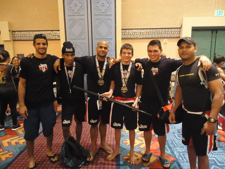 Some of the competition team members at a grappling tournament in Orlando, Florida.
