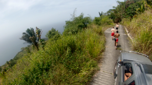 MTN Team running thru Paramin, North Coast Trinidad taking in the view of the Caribbean Sea.